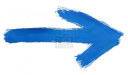 Photo for Design element - blue hand painted arrow isolated on pure white background, clearly visible traces of brush strokes - Royalty Free Image