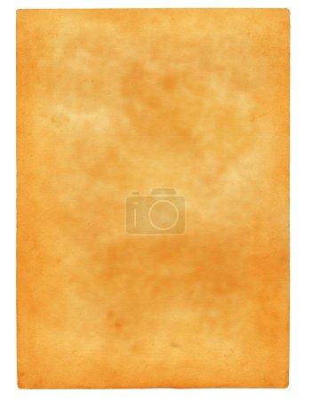 Foto de Hoja del viejo manchado papel aislado sobre fondo blanco puro - Imagen libre de derechos