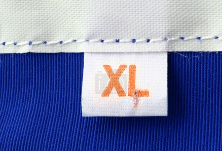 Real macro of XL size clothing label