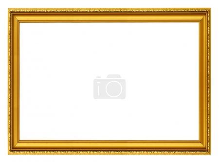 Photo for Golden horizontal frame isolated on white - Royalty Free Image
