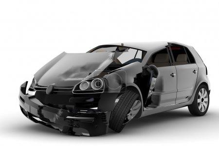 Photo pour Un accident avec une voiture noire isolée sur blanc - image libre de droit