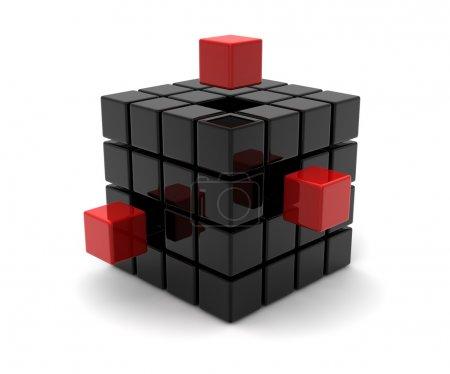 Photo pour Cubes noirs et rouges - image libre de droit