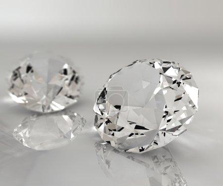 Photo pour Deux diamants isolés sur une table réfléchissante - image libre de droit