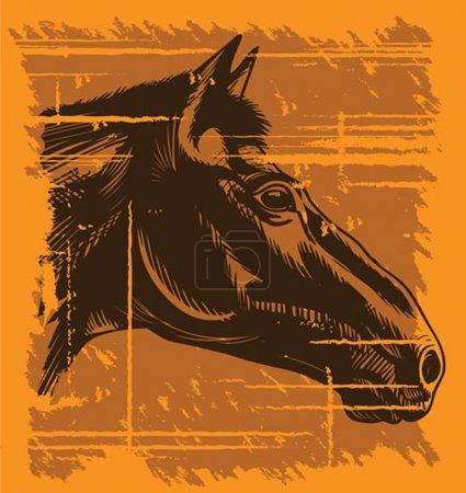 Illustration for Wild west style horse portrait - Royalty Free Image
