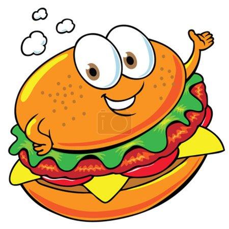 Photo for Cartoon illustration of a happy hamburger - Royalty Free Image