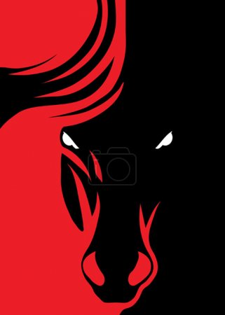 Photo for Vector design of a black stallion head - Royalty Free Image