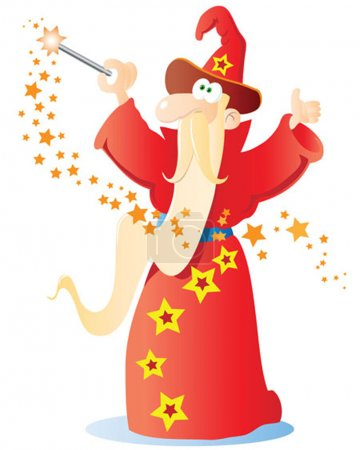 Photo for Illustration of a funny wizard holding magic wand - Royalty Free Image