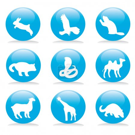Photo for Wild animals symbols on a blue buttons - Royalty Free Image
