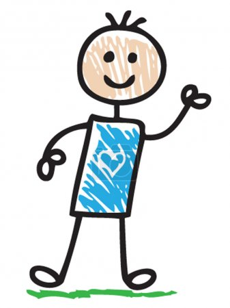 Photo for Funny doodle boy smiling - Royalty Free Image