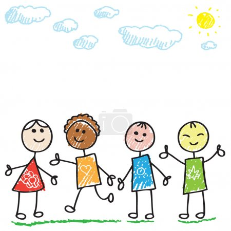 Photo for Funny cartoon doodle children playing - Royalty Free Image
