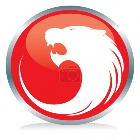 Photo for Vactor illustration of a red tiger's button sign - Royalty Free Image