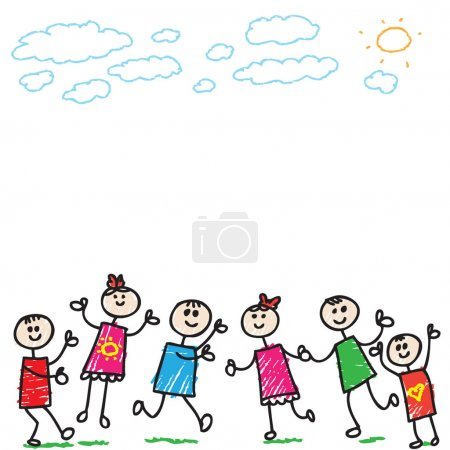 Photo for Cartoon illustration of a doodle children having fun - Royalty Free Image
