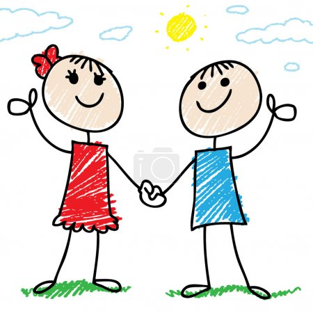 Photo for Cartoon illustration of a two happy doodle children - Royalty Free Image