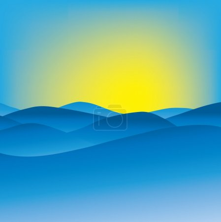 Photo for Vector illustration of an abstract wavy blue hills - Royalty Free Image