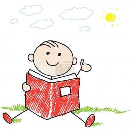 Photo for Doodle style illustration of a boy reading a book - Royalty Free Image