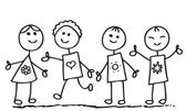 Cartoon style illustration of a group of children