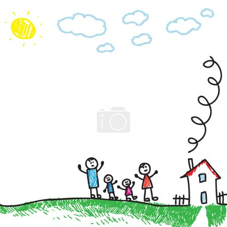 Photo for Cartoon doodle style drawing of a happy family - Royalty Free Image