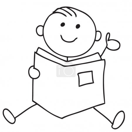 Photo for Cartoon style child reading a book - Royalty Free Image
