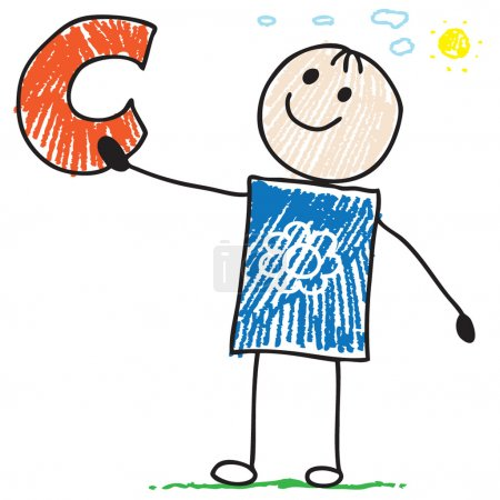 Photo for Cartoon doodle boy holding letter C - Royalty Free Image