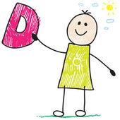Doodle boy holding letter D
