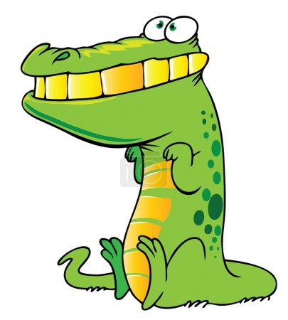 Illustration for Cartoon style illustration of a funny crocodile - Royalty Free Image