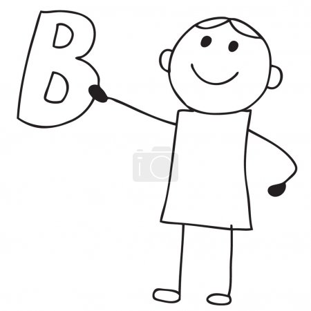 Photo for Doodle child holding letter B - Royalty Free Image