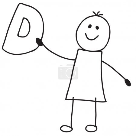 Photo for Doodle child holding letter D - Royalty Free Image