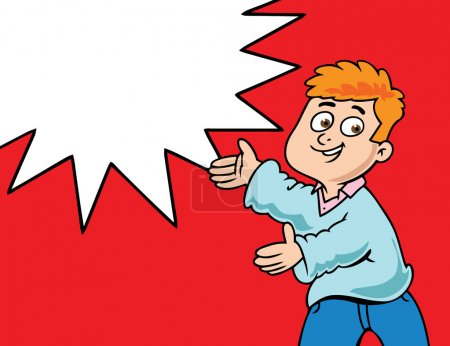 Photo for Cartoon style illustration of a boy advertising something - Royalty Free Image