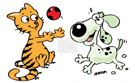 Photo for Cartoon style illustration of a cat and a dog playing - Royalty Free Image