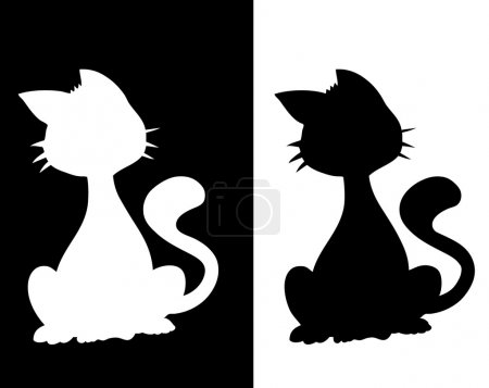 Photo for Silhouette of a cat - Royalty Free Image