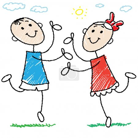 Photo for Cartoon style illustration of a children dancing - Royalty Free Image