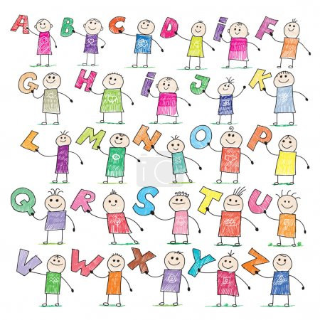 Illustration for Doodle style illustration of a children holding letters in alphabetical order - Royalty Free Image