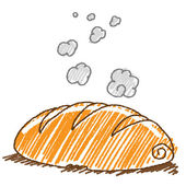 Doodle style illustration of a hot bread