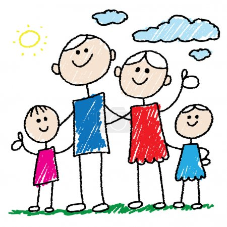 Photo for Doodle style illustration of a family - Royalty Free Image
