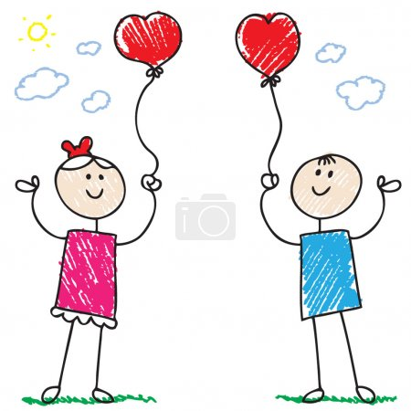 Photo for Cartoon doodle style illustration of a girl and a boy holding ballons - Royalty Free Image