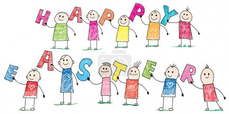 Photo for Doodle children holding letters wishing us happy easter - Royalty Free Image