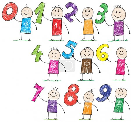 Photo for Doodle children holding basic numbers - Royalty Free Image