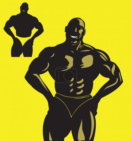 Photo for Two isolated bodybuilder silhouette - Royalty Free Image