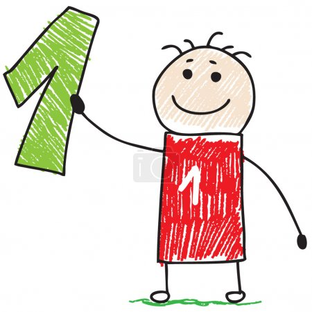 Photo for Doodle child holding number one - Royalty Free Image