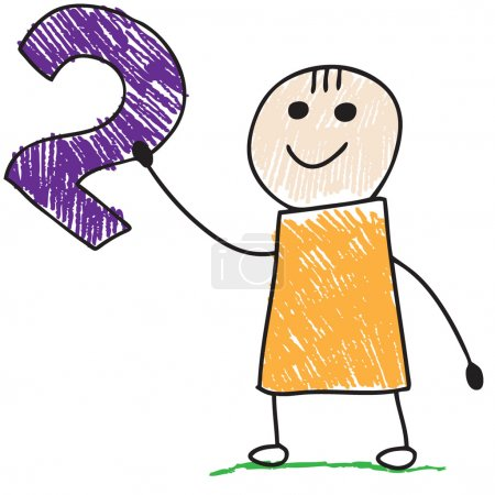 Photo for Doodle child holding number two - Royalty Free Image