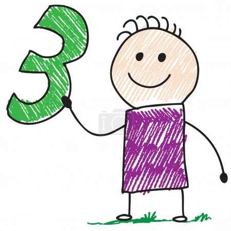 Photo for Doodle child holding number three - Royalty Free Image