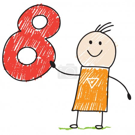 Photo for Doodle child holding number eight - Royalty Free Image