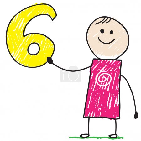Doodle child holding number six