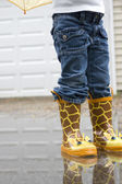 Girl in Cute Galoshes from Waste Down