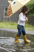 Girl Splashing in the Rain
