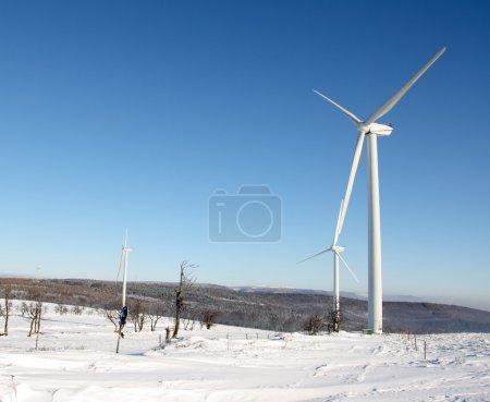 Electricity wind turbine in winter
