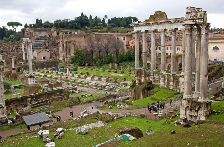 Photo for View over ruins: temple of Saturn in Roman Forum, Romanum, in Italy - Royalty Free Image