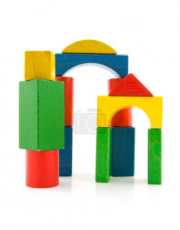 Photo for Colorful woorden building blocks over white background - Royalty Free Image