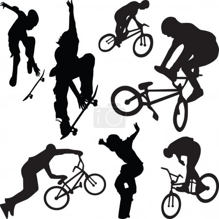 Skateboarding and bicyclist silhouette v