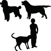 Kid and dog silhouette vector